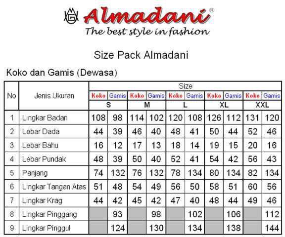 size pack busana muslim almadani